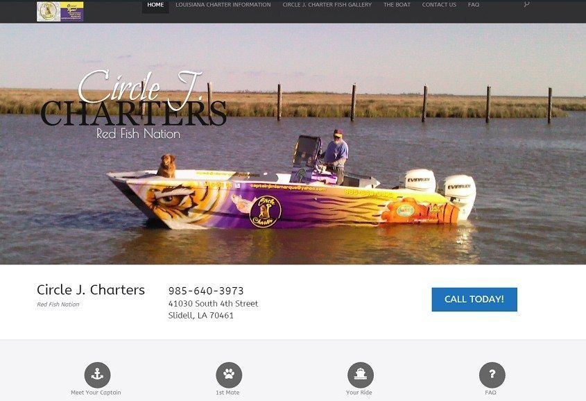 Web Design for Captain Jim LaMarque of Circle J. Charters.