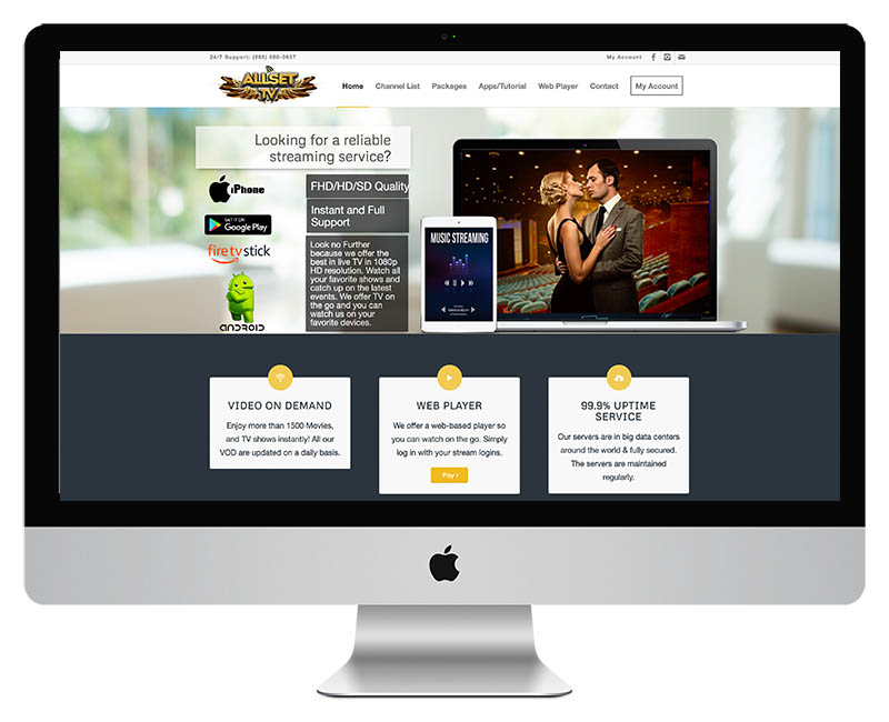 Web Design for Allset TV Streaming Services