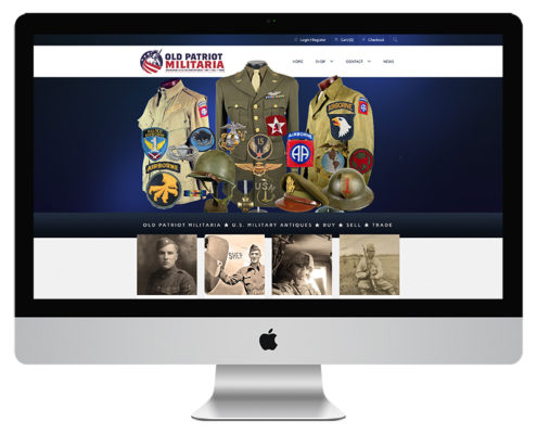 Old Patriot MIilitaria Auction Web Design and eCommerce Web Design